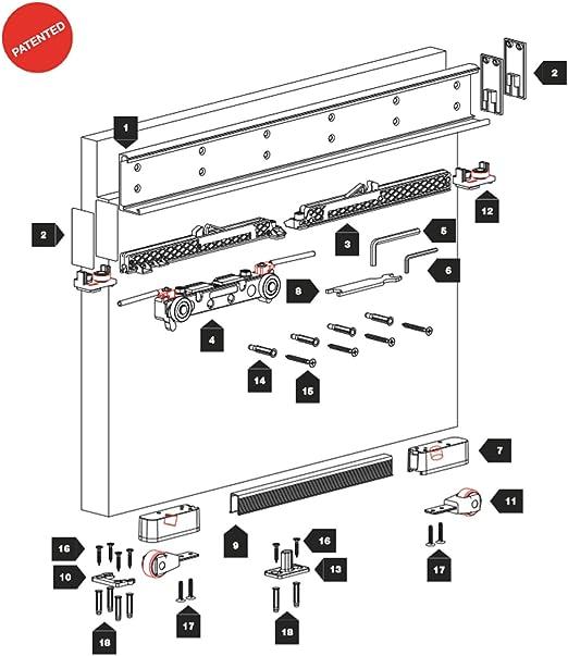 Binaria y hardware para puerta corredera. Invisible y amortizado. Ternoscorrevoli Magic 1100.: Amazon.es: Hogar