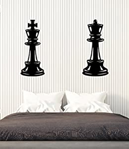 Amazing Home Decor-Vinyl Wall Decal Chess Pieces Queen King Bedroom Decor Ideas Stickers Large Decor 743Made in The USA Removable