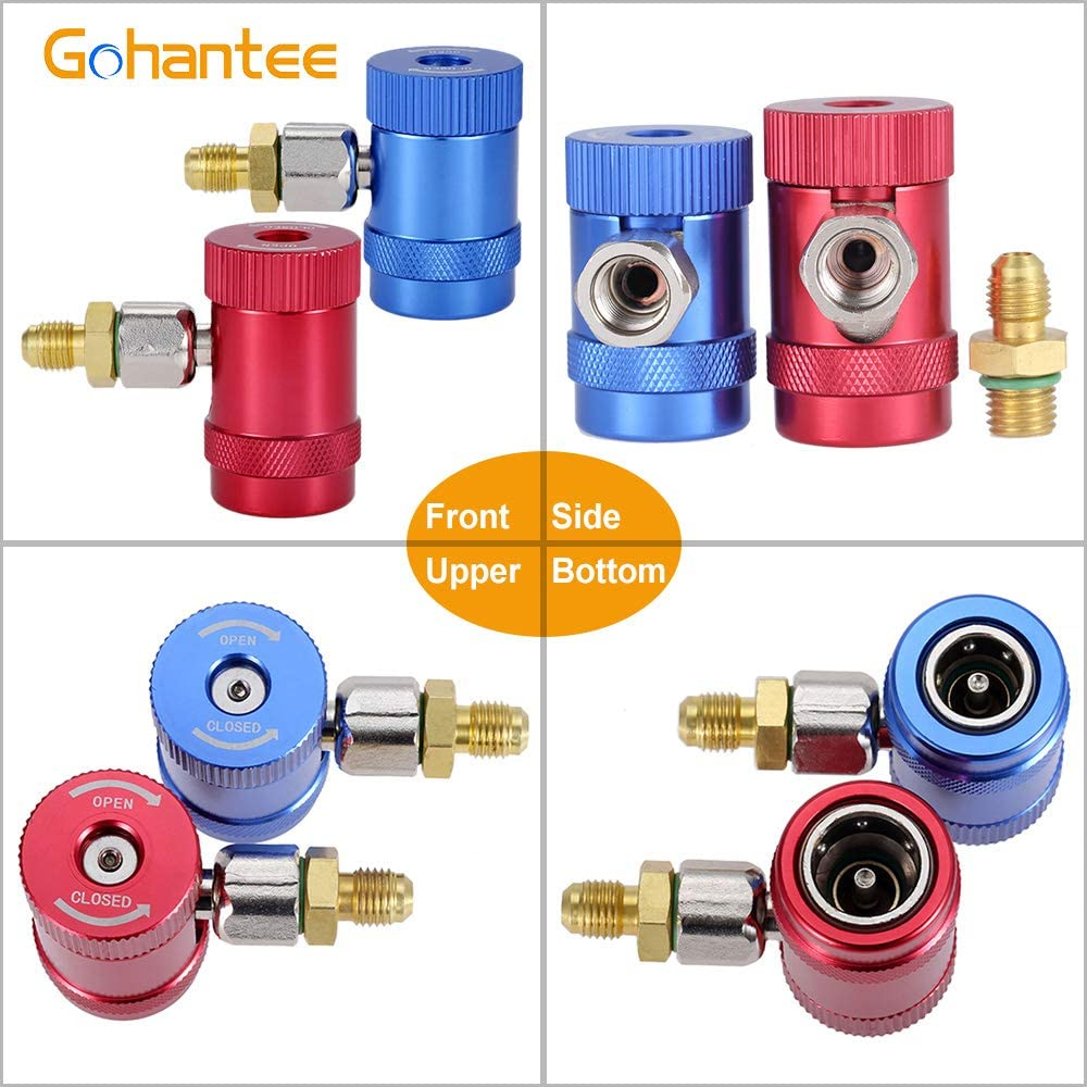 and Steam Core Remover R1234yf Quick Couplers Adapter Compatible with 1//4 inch Fitting AC Charging Hose for A//C Refrigerants Manifold Gauge Set High Low Side R1234yf Manual Connector Adapters