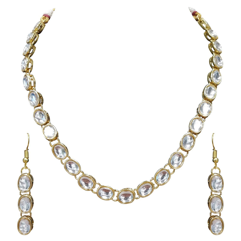 Aheli Exquisitely Kundan Encrusted Necklace Earrings Set Wedding Ethnic Festive Indian Jewelry for Women