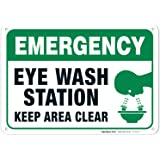 Eye Wash Station Sign, Emergency Sign, 10x7 Rust Free Aluminum, Weather/Fade Resistant, Easy Mounting, Indoor/Outdoor…