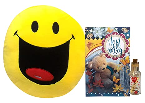 Saugat Traders Sorry Gift for Girlfriend or Boyfriend - Sorry Card Smiley Cushion & Message Bottle
