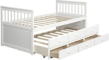 8. Merax Captain's Bed with Drawers Trundle Bed and Twin (White)