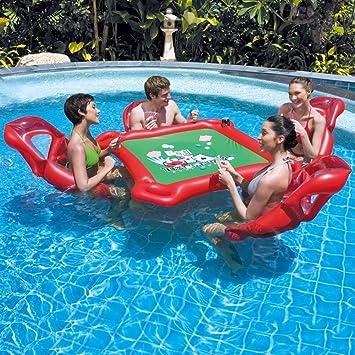 WSGJHB Flotadores de Piscina para Adultos Mesa Flotante Inflable y Silla de salón de Aire de 4 Piscinas con Waterproof Poker Juguetes de Verano para la Piscina, Floaties para Adultos: Amazon.es: Deportes