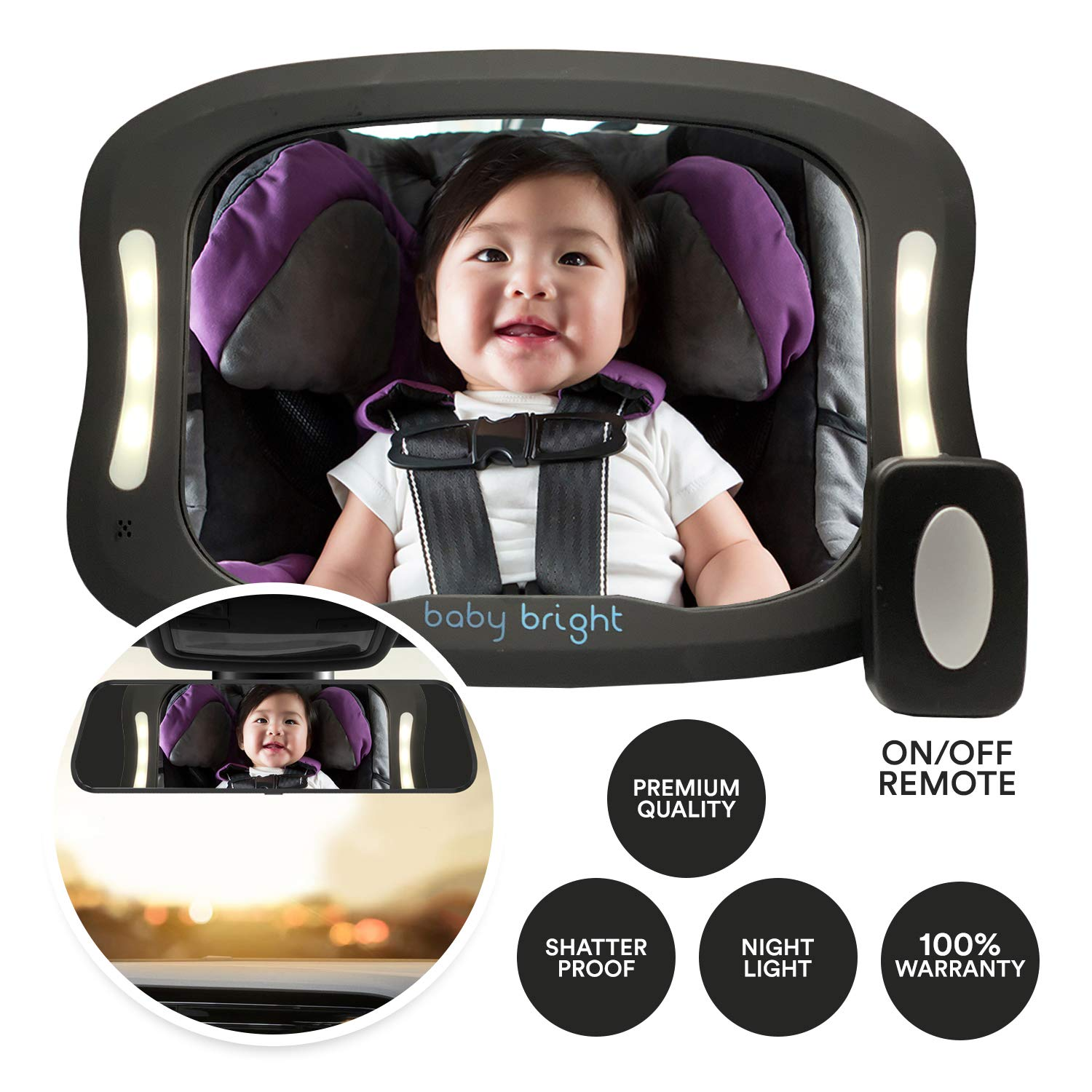 Baby Car Mirror with Light (for Driving at Night) & FOB Control   Improved Longer Lasting Battery Life   Backseat Rear View Baby Mirror by Baby Bright   Shatter-Proof, Fully Assembled by BabyBrite