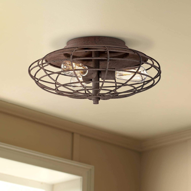 Industrial rustic farmhouse ceiling light flush mount fixture led