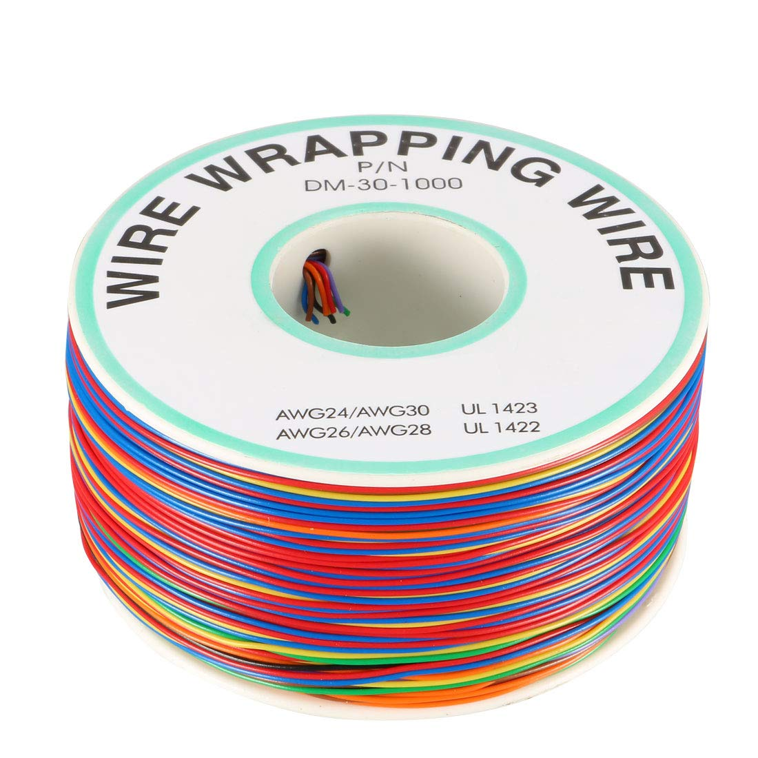 uxcell AWG30 656.2FT Breadboard Wrapping Wire PCB Solder PVC Coated Tin Plated Copper Cable, 1 Roll 8-Wire Multiple Colors a18062200ux0094