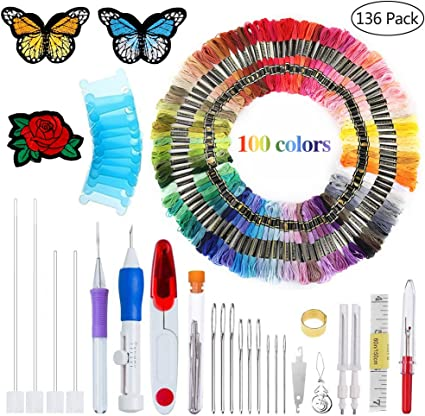 Magic DIY Embroidery Pen Knitting Sewing Tool Punch Needle Stitching Threads Kit