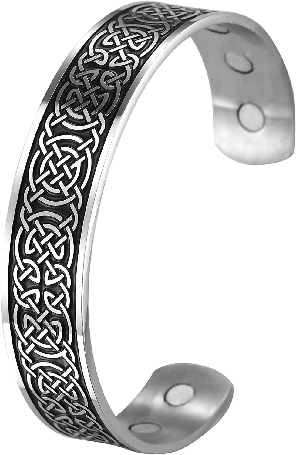TEAMER Magnetic Therapy Bracelet Health Care Viking Norse Doire Celtic Knot Stainless Steel Cuff Bangle for Men