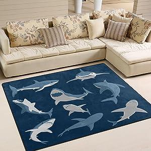 ALAZA Blue Cartoon Shark Print Area Rug Rugs for Living Room Bedroom 5'3 x 4'