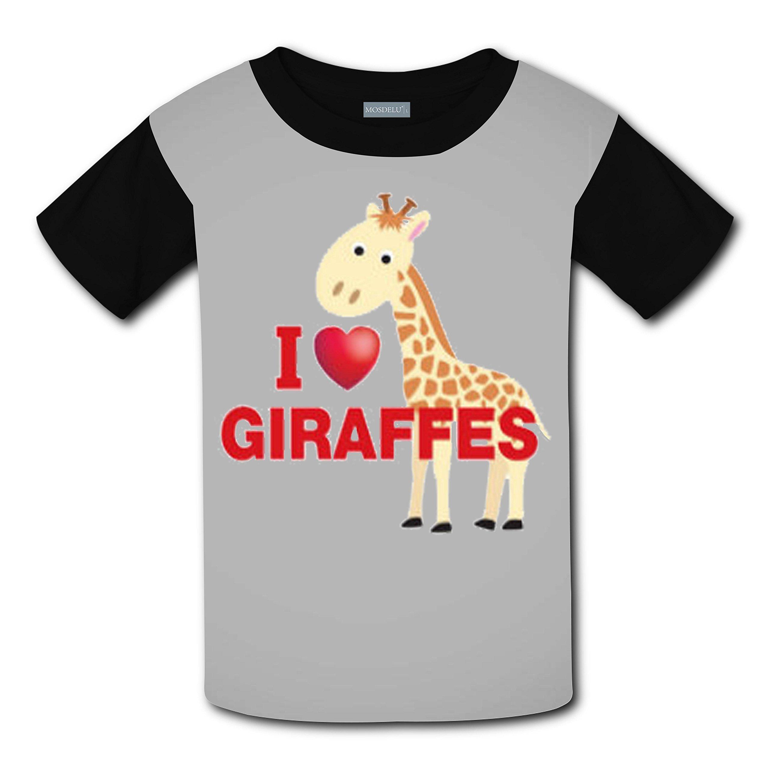 Unisex Kids I Love Giraffe 3D Printed Round Collar Short Sleeve T- Shirt