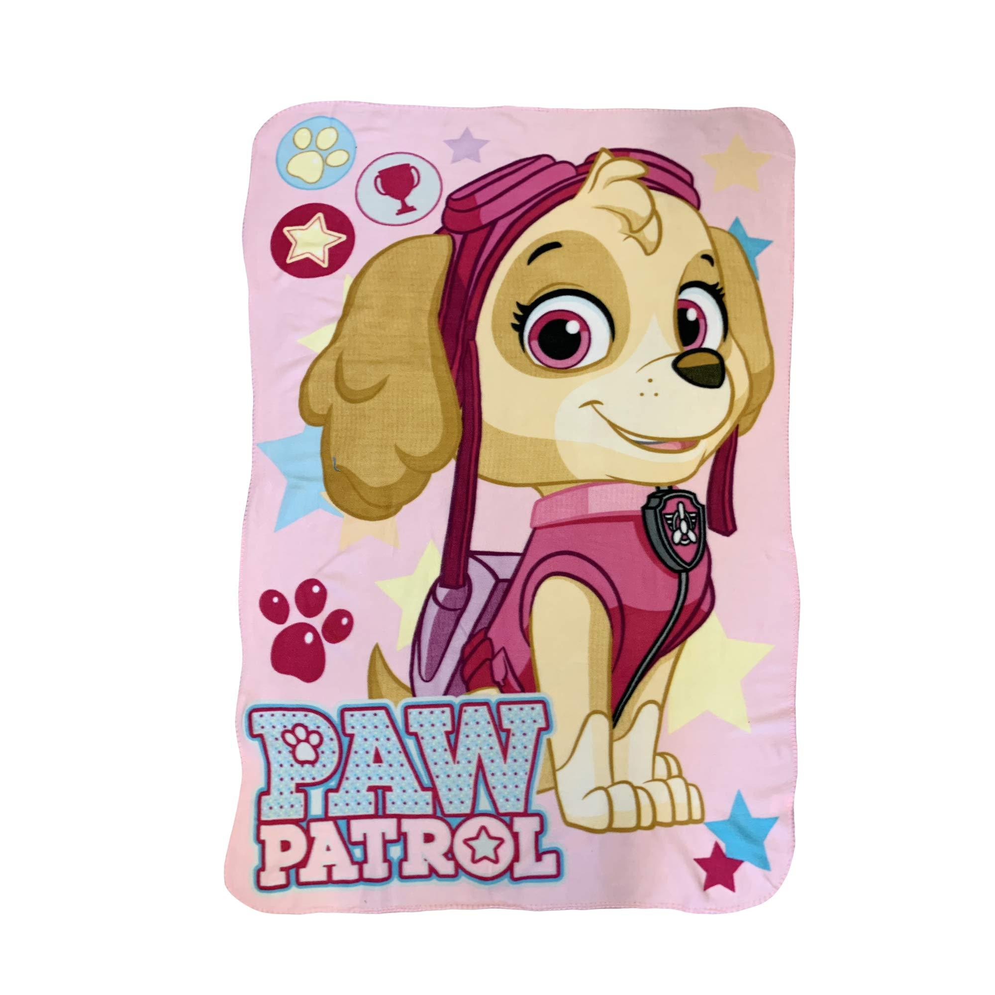 Girl Paw Patrol Skye with Doggy Prints and Stars Throw Blankets by Paw'Patrol