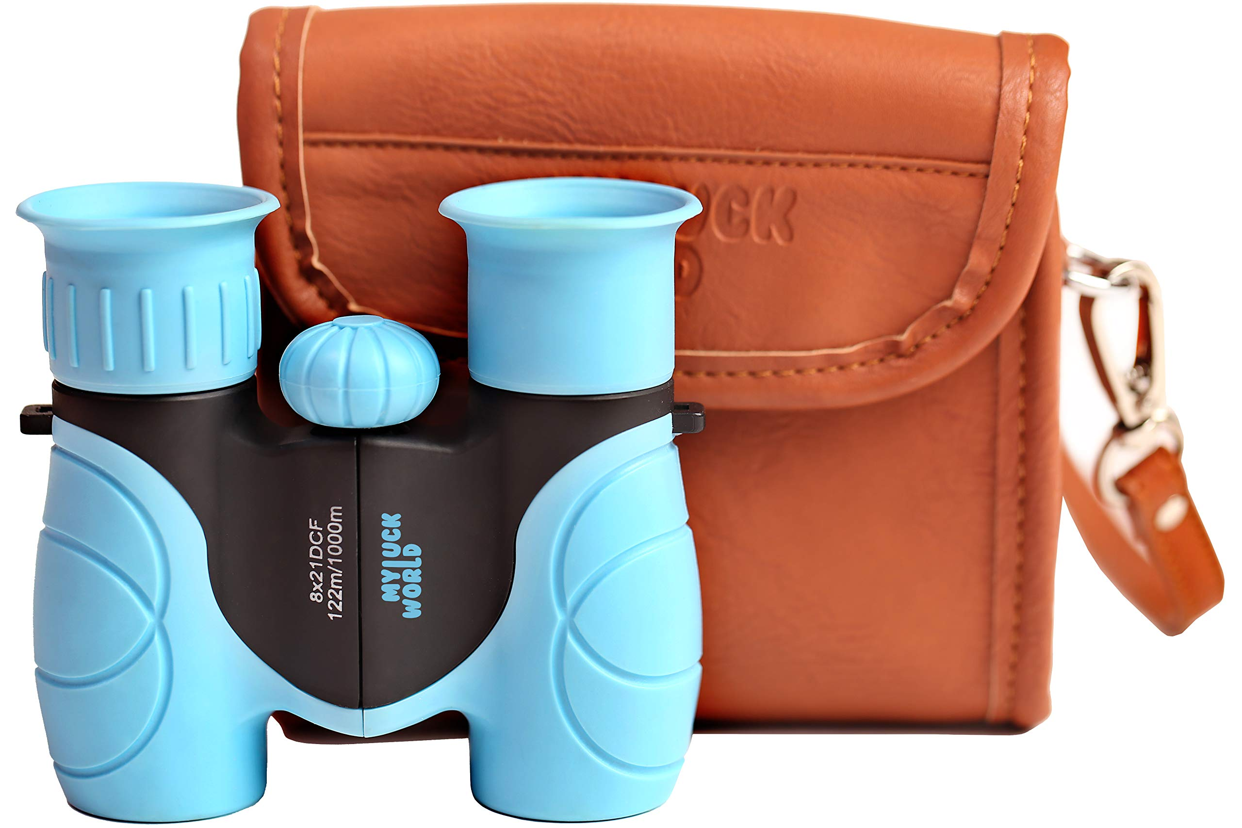 Binoculars for Kids 8x21 High-Resolution Shock-Proof Real Optics - Pu-Leather Crossbody Bag - for Bird Watching Outdoor Camping Hunting Hiking Star Gazing - Best Gift for Children - Birthday Present