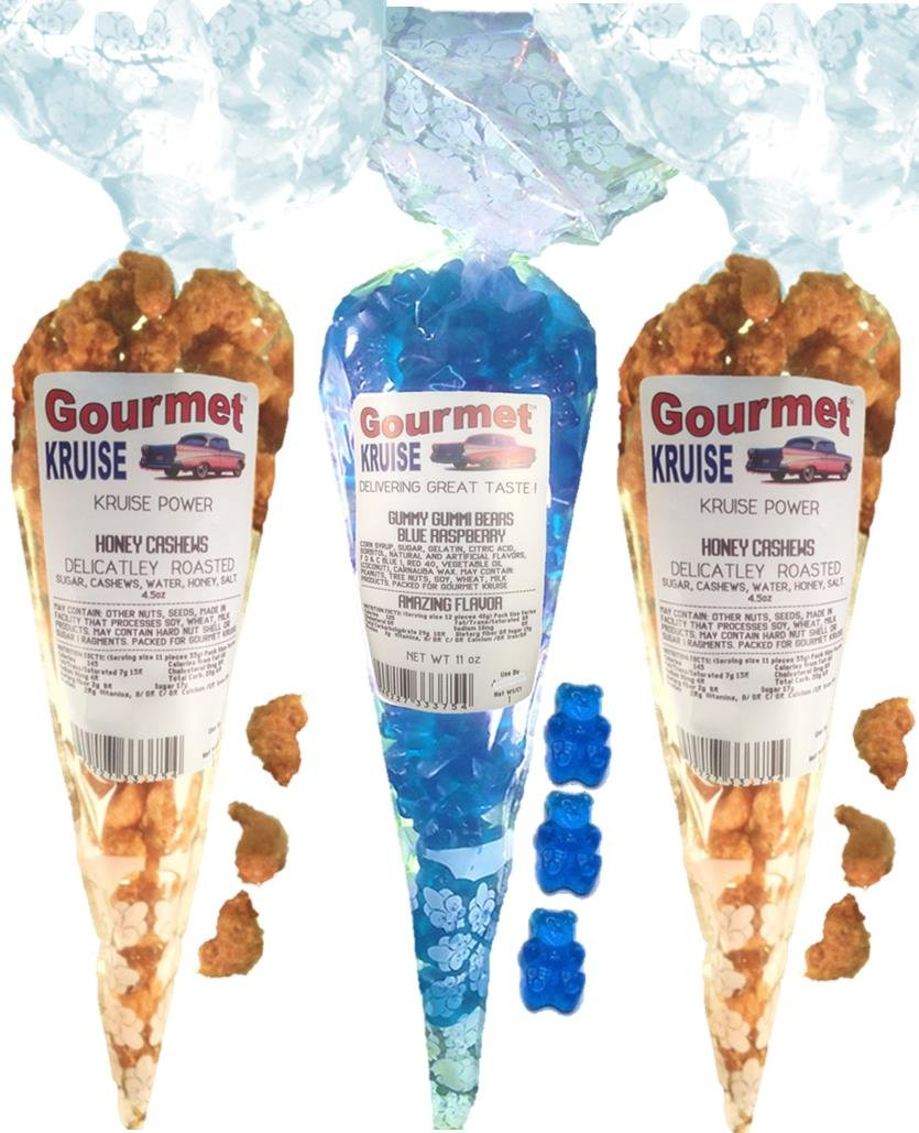 Cashews (2) Honey Salted Roasted Delicately (1) Blue Raspberry Gummi Gummy Bears (NET WT 20 OZ) Gourmet Kruise Signature Gift Bags