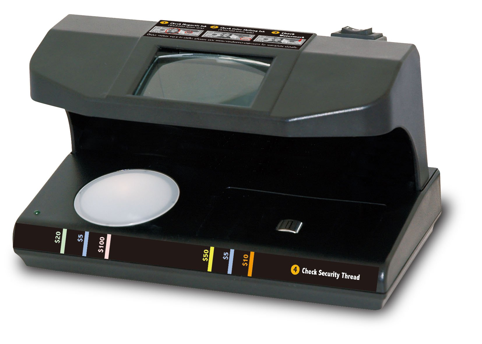 Royal Sovereign Four-Way Counterfeit Detector, Ultraviolet, Magnetic, Watermark, and Micro-Print Counterfeit Detection, Black (RCD-3PLUS)