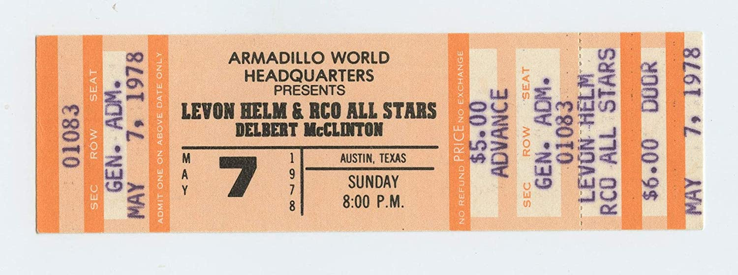 Levon Helm Ticket 1978 May 7 Armadillo World Headquarters Austin TX Unused