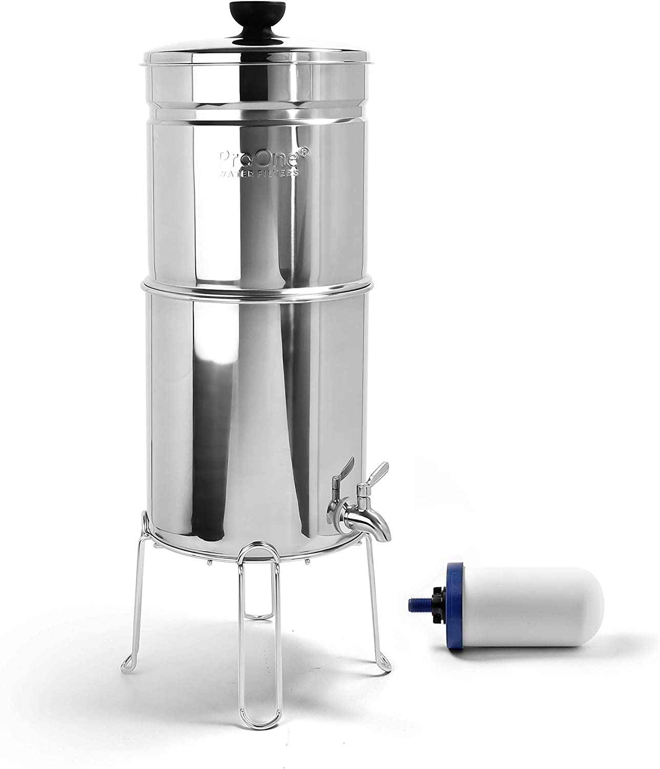 ProOne Traveler+ Polished Stainless Countertop Gravity Water Filter System w/ 5-inch Filter & Wire Stand - Remove Fluoride Lead Chlorine Microplastics