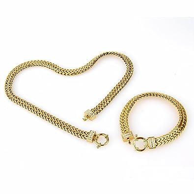 Amazon.com  COPAUL Jewelry Women s Stainless Steel Gold Chain Link Bracelet    Necklace Set  Jewelry f6bee6a53c