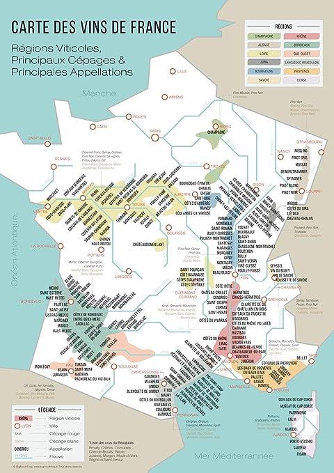 Bigmouthfrog Vintage Poster Karte Der Weine Von Frankreich