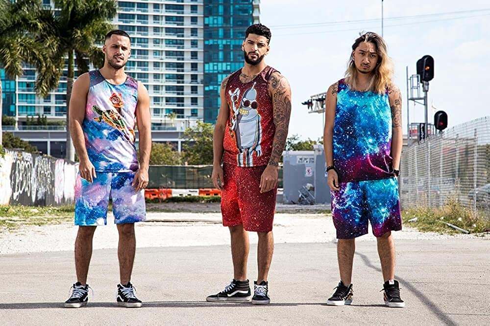 On Cue Apparel Galactic Waves Tank and Shorts Rave Outfit
