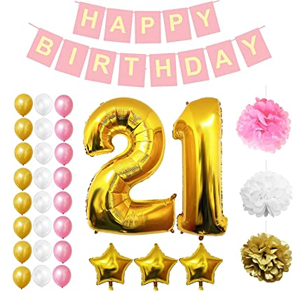 21st Birthday Decorations Party Supplies 32 Pcs Happy Banner Set
