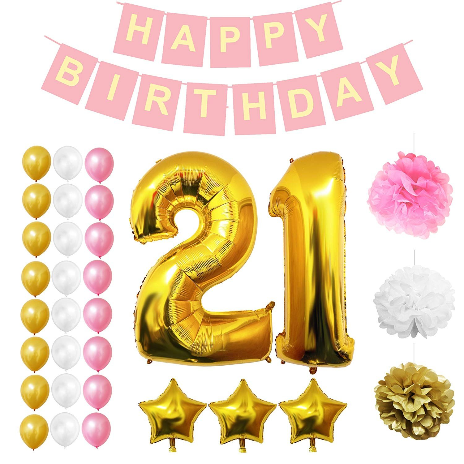 21st Happy Birthday Party Balloons, Supplies & Decorations