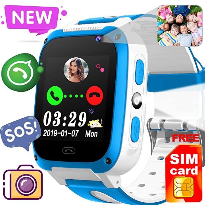 Free SIM Card2019 Kids Game Smart Watch PhoneBirthday Gift For 3 14 Age Girl Boy 2 Way Call SOS 154 Kid Smartwatch With 9 Puzzle Camera Alarm