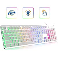 LANGTU L1 Membrane Gaming Keyboard Rainbow LED Backlit USB PC and Laptop Gamers Windows 104 Keys Anti-ghosting 24 Keys…