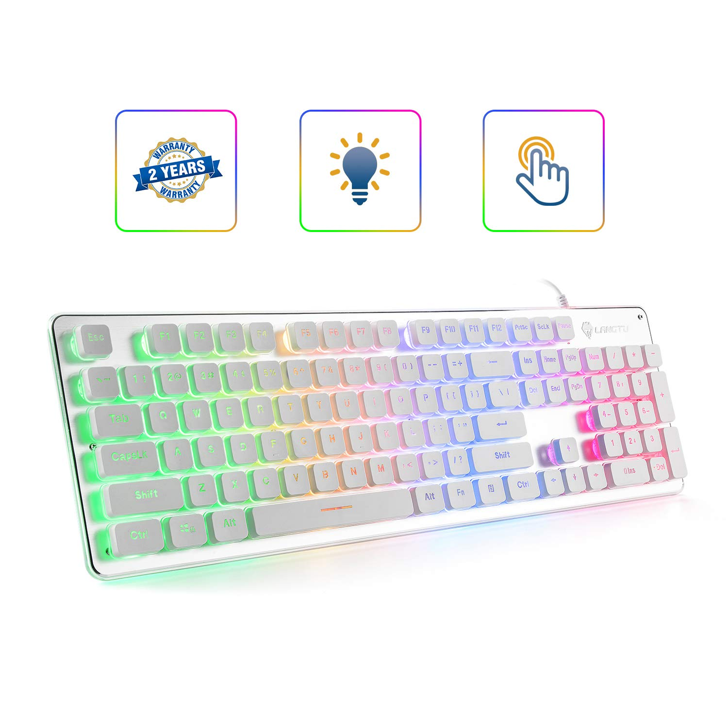 Teclado Membrana LANGTU Membrane Rainbow LED Quiet For Offic