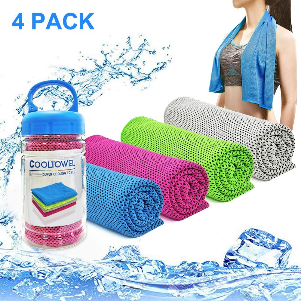 """YouCoulee Cooling Towel for Instant Cooling Relief, 4 Packs Cool Towel for Neck,Cooling Towels Neck Cooler for Extremely Hot Weather,Ice Towel Chilly Towel for Yoga,Sport,Gym,Workout,Running(40""""x 12"""")"""
