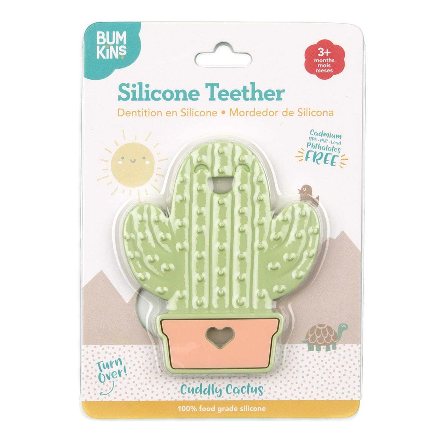Textured Bumkins Silicone Teether Cactus Soft Bacteria Resistant Flexible
