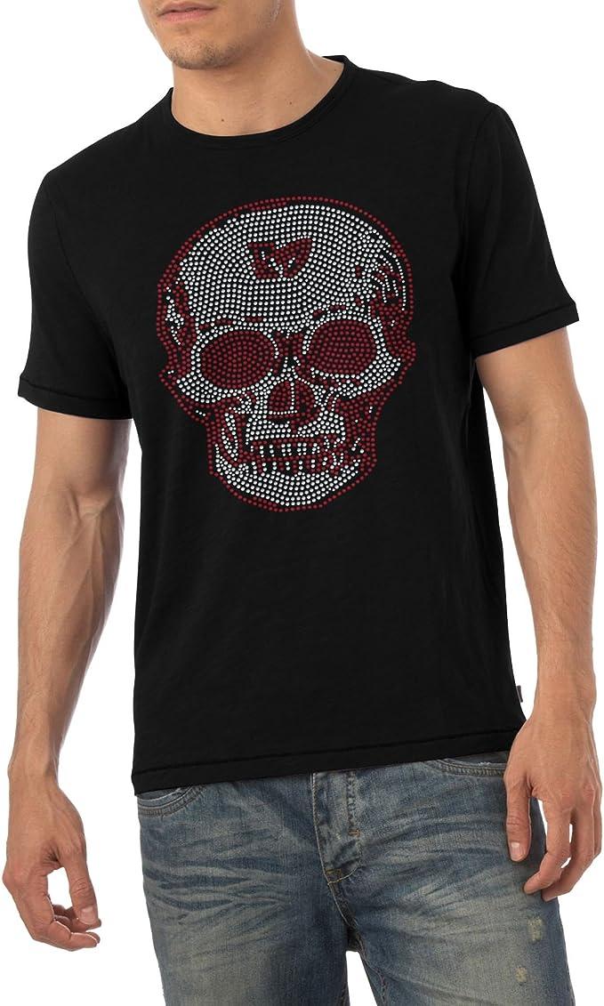 para Hombre diseño de Calavera Rojo y Transparente Diamante Crystal T Camisa Hombre Tallas de Adulto S- XL Negro Negro Large: Amazon.es: Ropa y accesorios