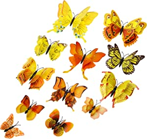 Tupalizy 12PCS Double Wings 3D Butterfly Wall Stickers Decals DIY Art Crafts Decorations for Windows Refrigerator Kids Girls Baby Bedroom Classroom Bathroom Home Office Birthday Party (Yellow)