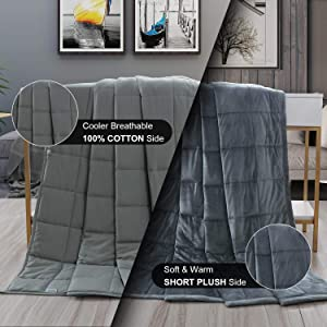 """Haowaner Weighted Blanket 100% Cotton Top+ Mink Fuzzy Weighted Blanket Plush Bottom, 15lb Heavy Blanket Adult, 48""""x72"""" Twin/Queen Anxiety Blanket for Use All-Year Round"""