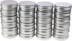 LJY 24 Pieces Round Aluminum Cans Screw Lid Metal Tins Jars Empty Slip Slide Containers (2 oz)