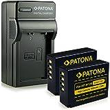 patonaa–Pack di accessori per fotocamere digitali, 4in 1Caricabatteria + 2x Batterie), colore: nero