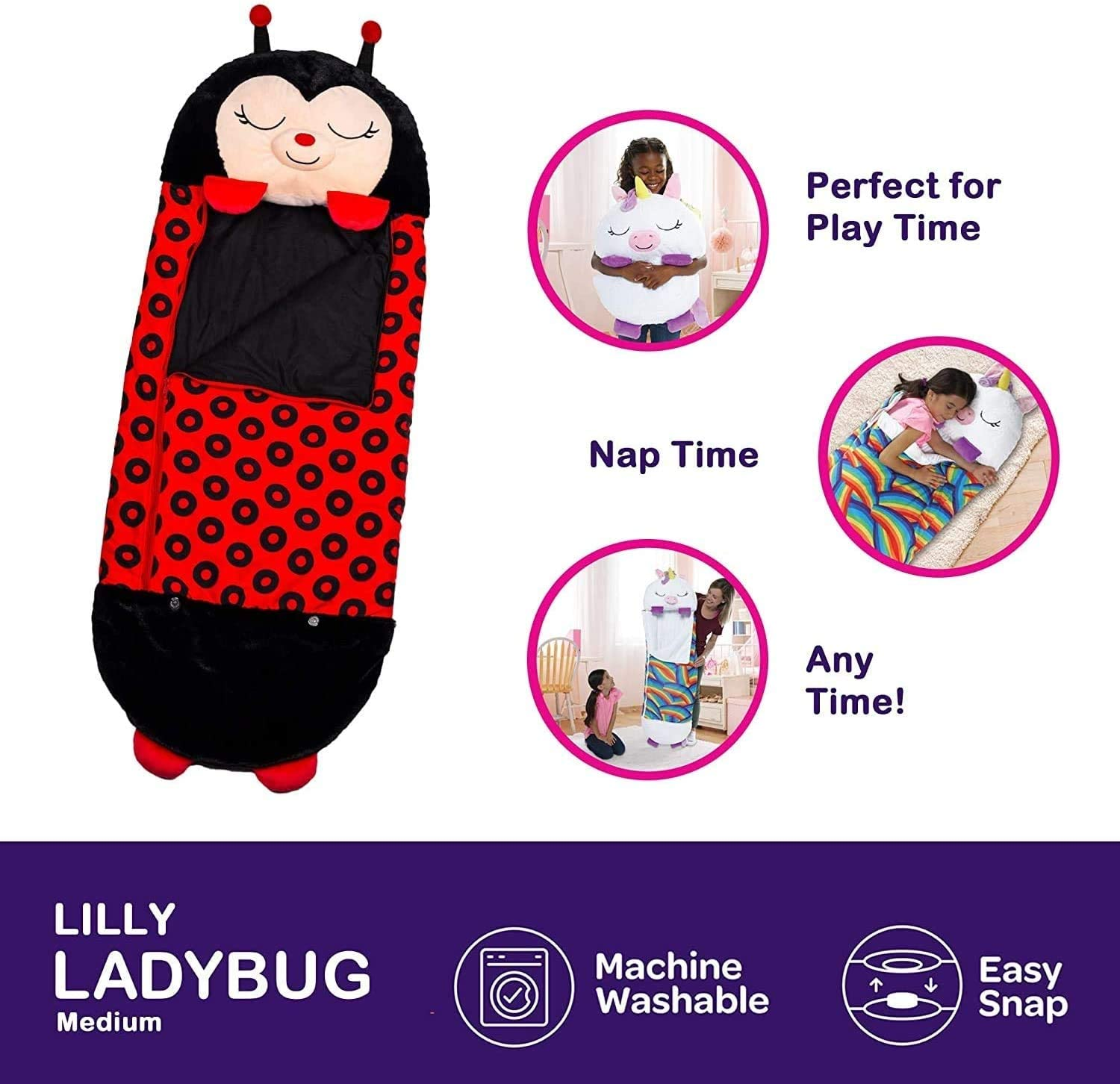 NUFR-Happy Kids Nappers Sleeping Bag,Portable Foldable Two-in-One Sleeping Bag with Pillow Lady Bug All Season Cartoon Animal Sleeping Bag Pillow,Soft and Warm,Suitable for Children Camping.