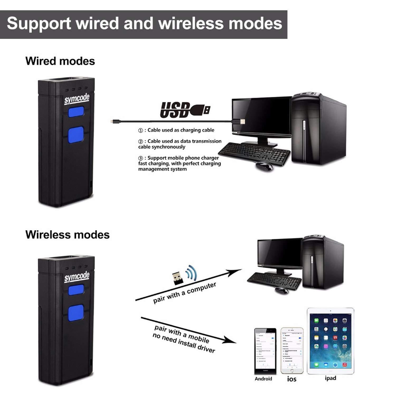 Wireless Bluetooth Barcode Scanner Symcode Handheld USB CCD ...