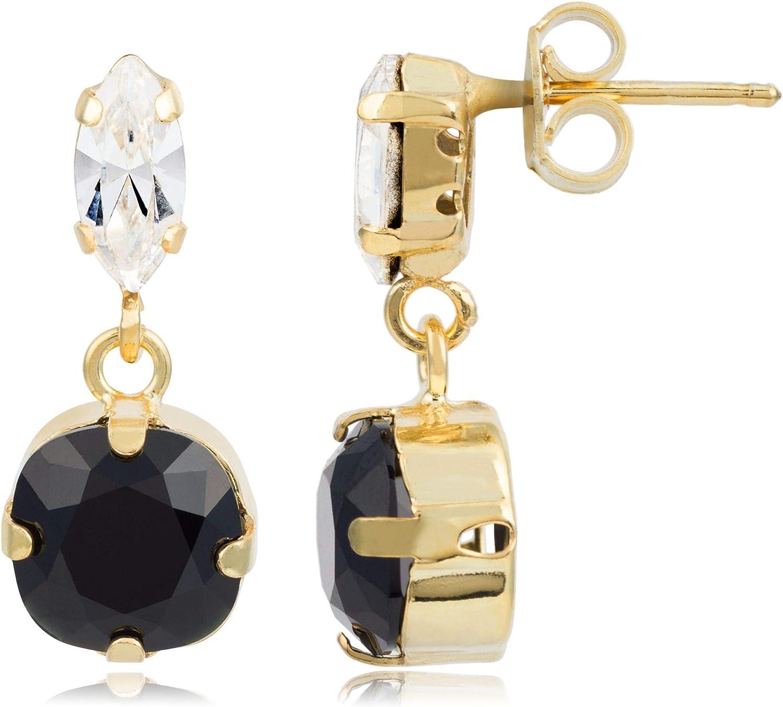 Córdoba Jewels | Pendientes en plata de ley 925 bañada en oro con cristales by Swarovski con diseño Circle Oval Swarovski Onix Gold