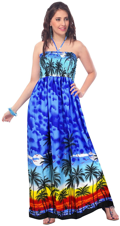 LA LEELA Smooth Soft Likre Beach wear Flare Tube Dress Maxi Skirt Blue: *LA LEELA: Amazon.co.uk: Clothing