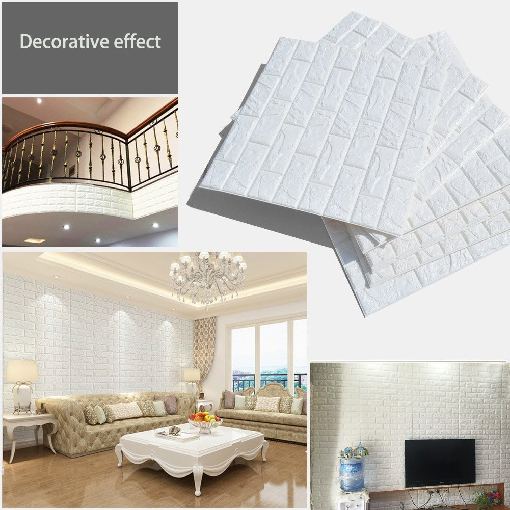 Amazon.com: 3D Brick Wall Stickers, White Brick Wallpaper ...