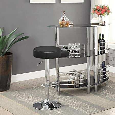 COSTWAY Swivel Bar Stool Round PU Leather Height Adjustable Chair Pub Stool w Chrome Footrest Black, 1 pc