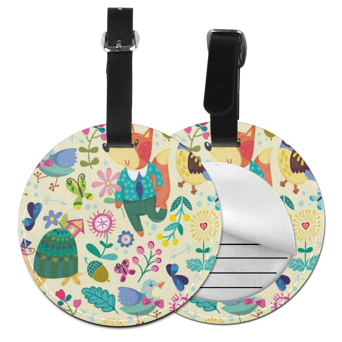 Round Luggage Tags Cute Floral Flowers Rabbit Easter Eggs Spring Summer Travel Accessories Suitcase Name Tags