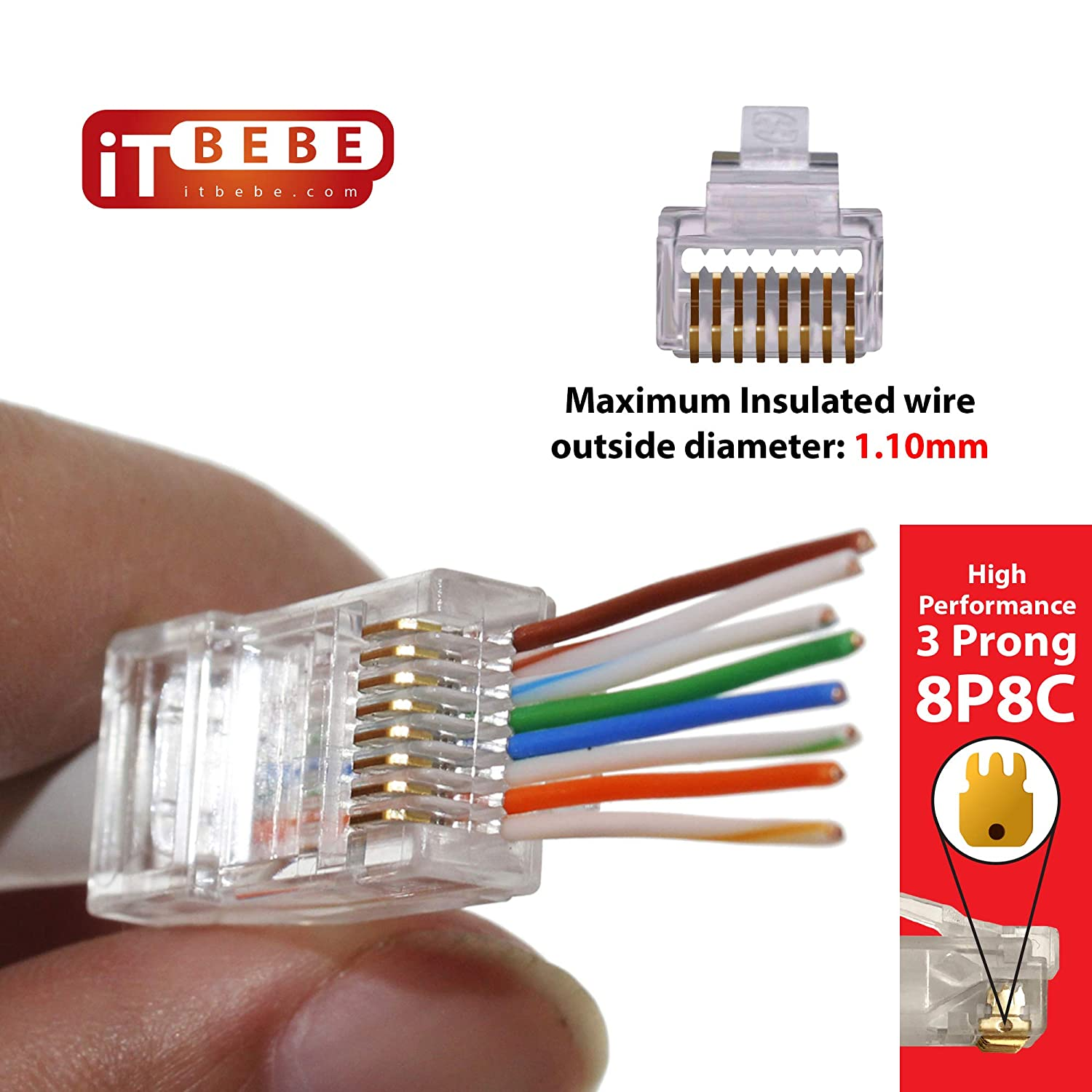 ITBEBE 300 Pieces RJ45 Cat6 Pass Through Connectors for 24 AWG Cables 300 Cat6 Passthrough Connector Ends Jack for Cat6 Ethernet Patch Cord