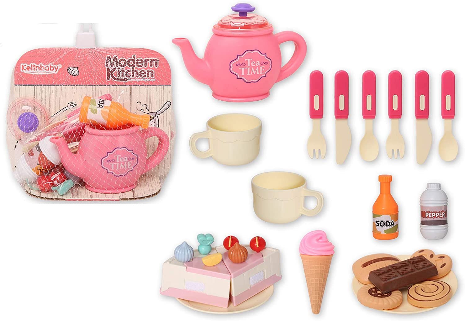Little Bado 28-Pieces Play Kitchen Toy,Afternoon Tea Party Set,DIY Cake,Cutting Play Food for Toddler Kid Boys Girls,Pretend Food Educational Toy as Birthday