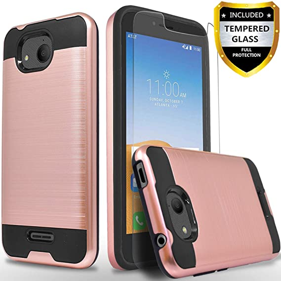 Alcatel Tetra 5041C Case, with [Tempered Glass Screen Protector]  Circlemalls 2-Piece Style Durable Hybrid Drop Protection Armor Rugged  Protective