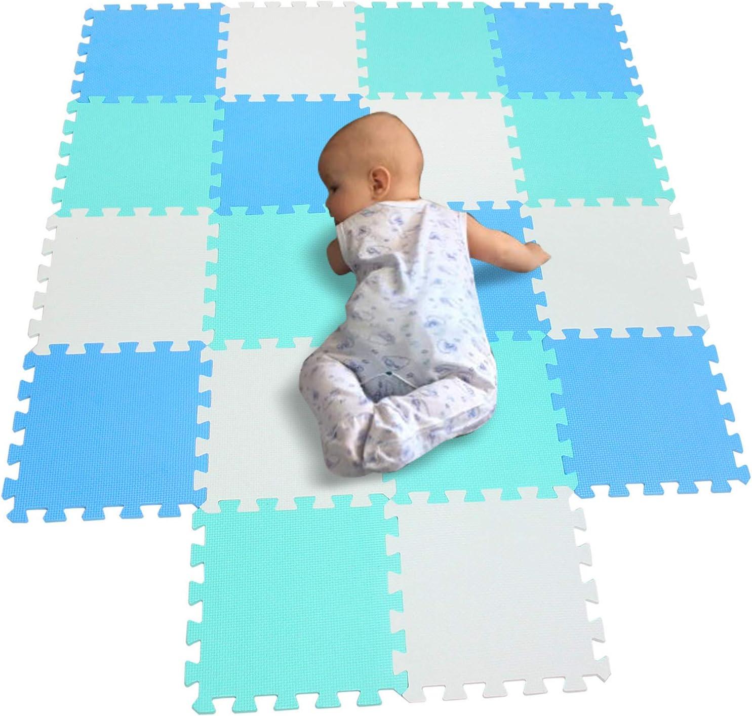 BUCHAQIAN Neue Kinder Baby Eva VERRIEGELUNGSSTOFFSCHAUM AKTIVIT/ÄT SPIELMATTE Set Fliesen Boden 9 ST/ÜCK Interlocking A0