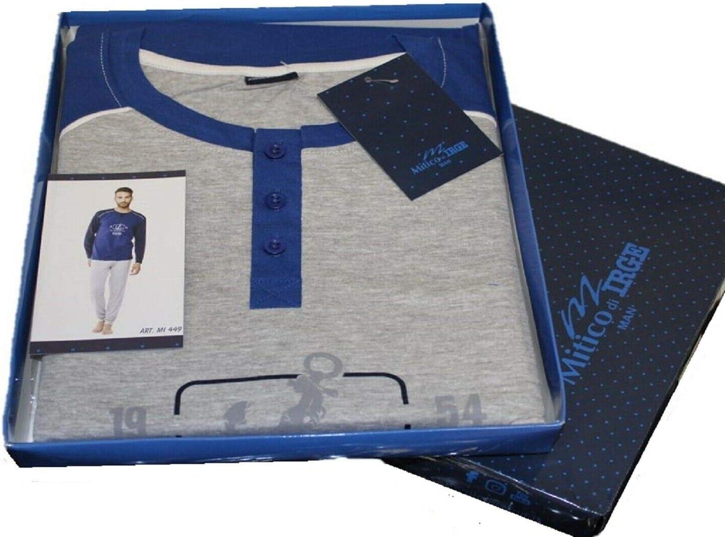 Blu//Gray melange, XL XXL Pigiama Uomo Cotone 100/% IRGE MI449 Manica Lunga e Pantalone Lungo XL L Misure: M