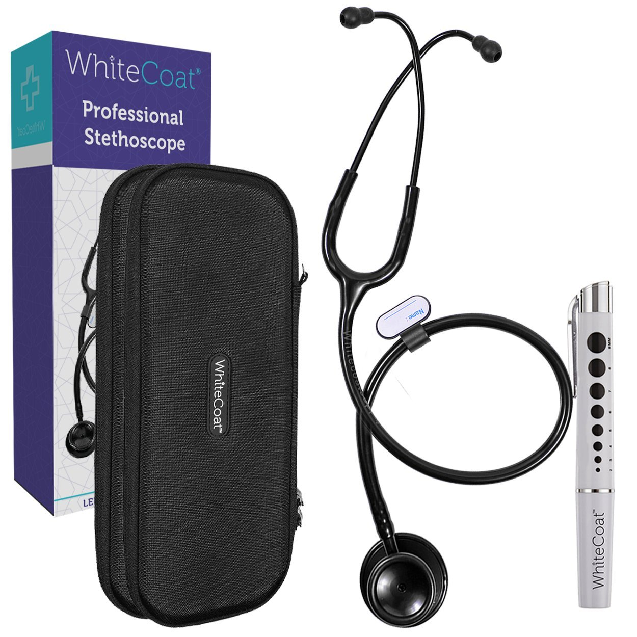 White Coat Dual Head Stethoscope - Lightweight and Acoustical with Protective Case, Jet Black Plus LED Pen Light Pupil Gauge