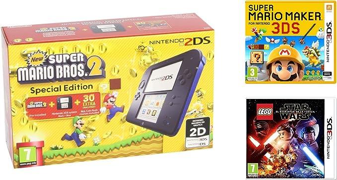 Consola Nintendo 2DS Azul + New Super Mario Bros 2 + Super Mario Maker + LEGO Star Wars: El Despertar De La Fuerza: Amazon.es: Videojuegos